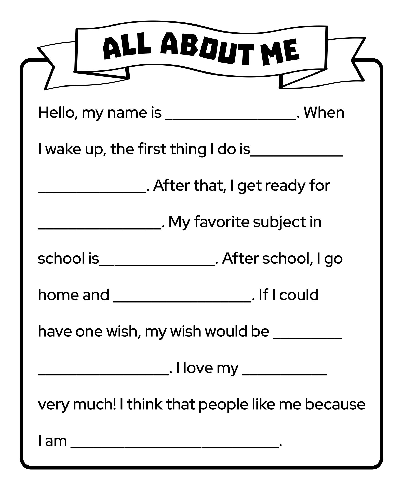 Back to School Worksheets All About Me