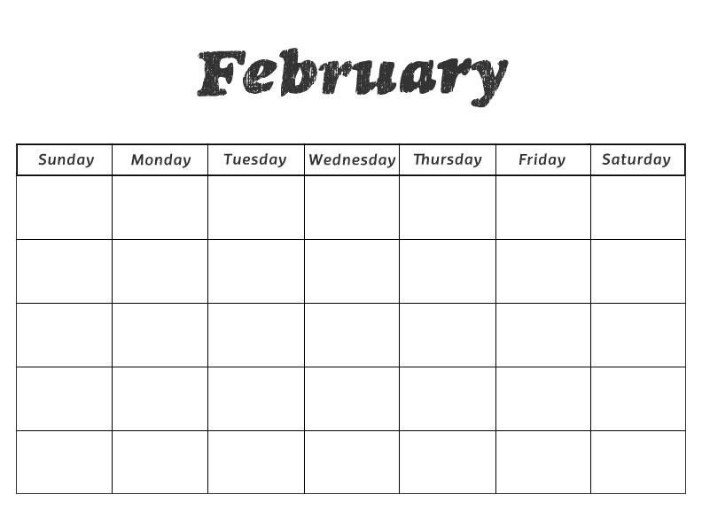 Blank Preschool February Calendar Printable