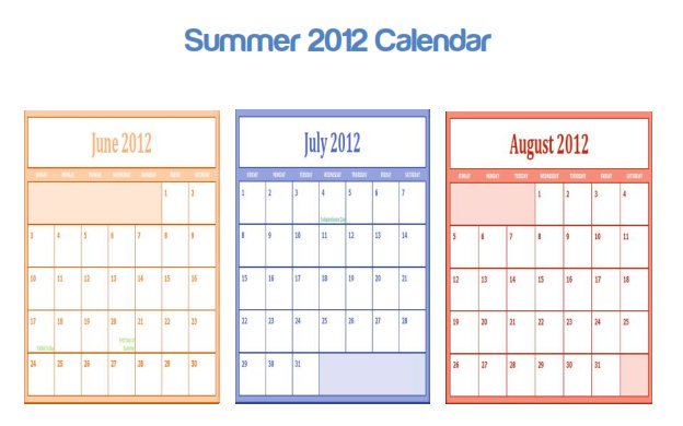 7 Images of Summer Calendar Printable