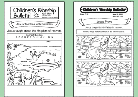 Childrens Church Activity Sheets