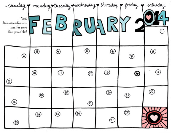 7 Images of Free Printable 2014 Monthly Calendars