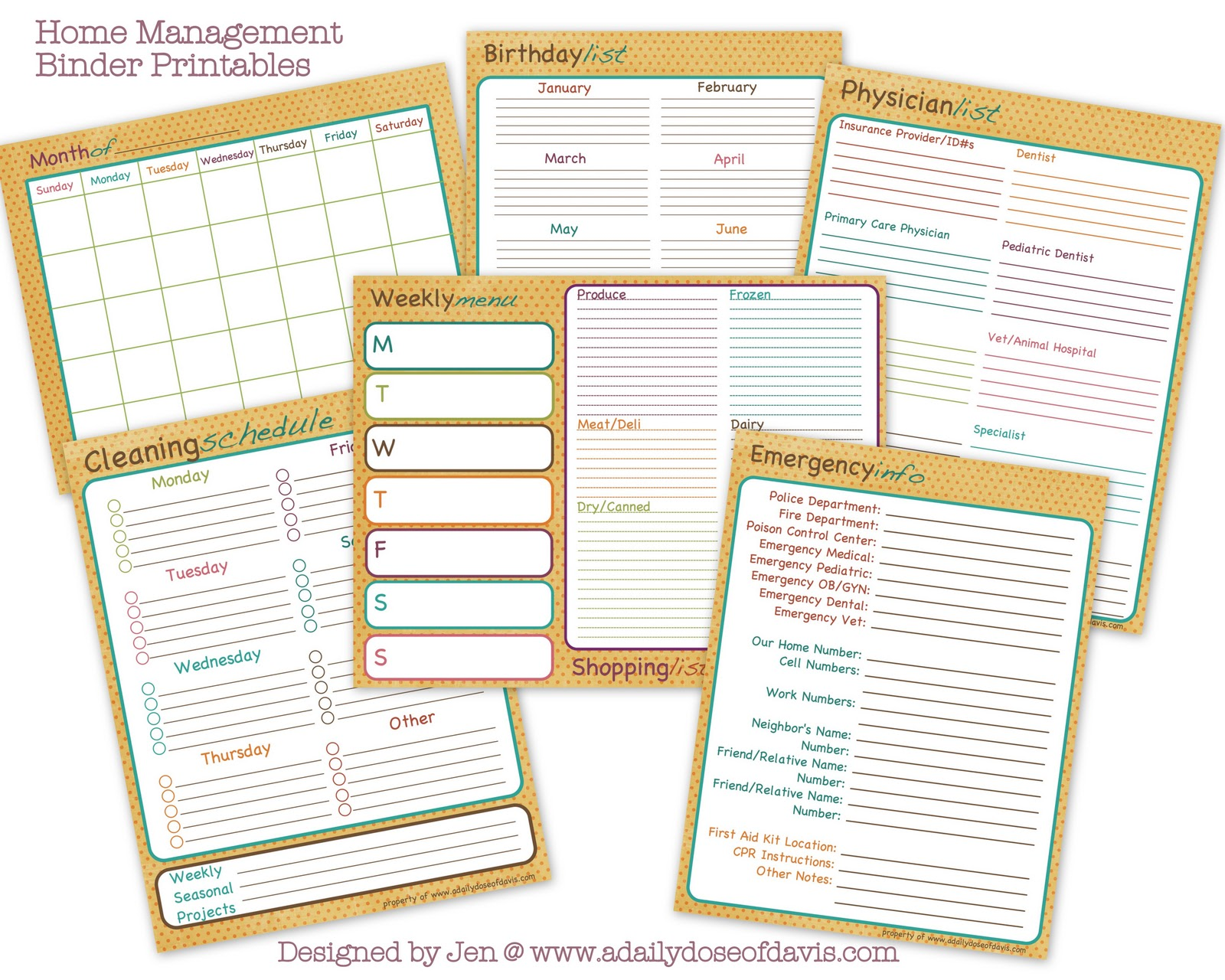 6 Images of Household Management Printables For Free