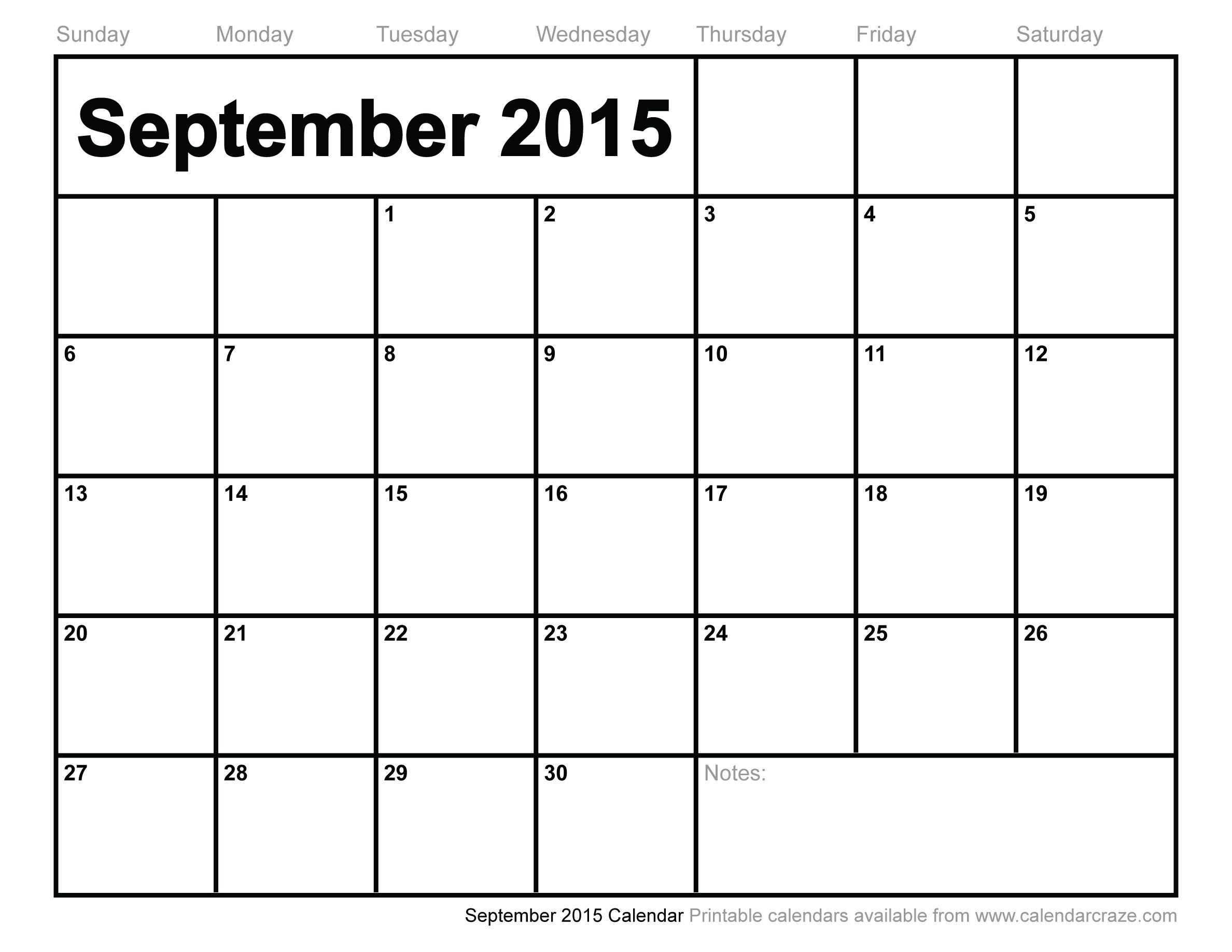 9 Images of September 2015 Calendar Printable Large Print
