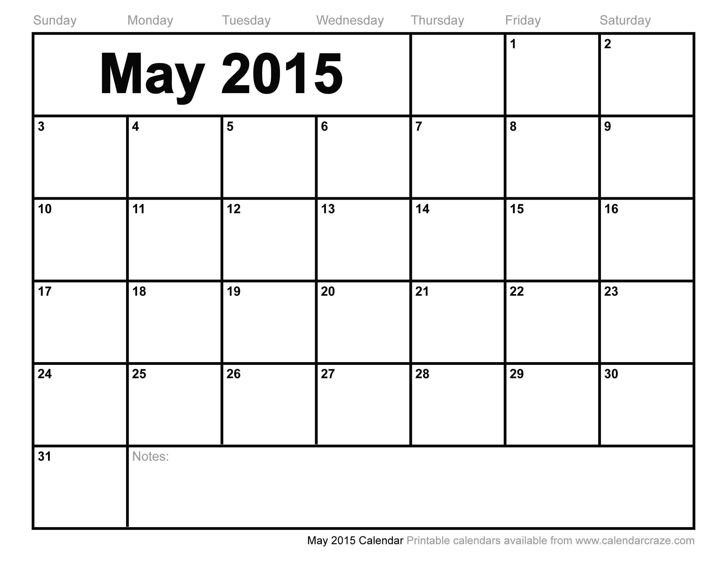 5 Images of Printable Monthly Calendar May 2015
