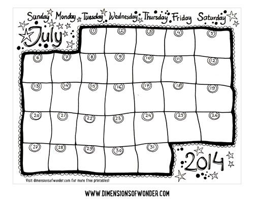 Free Printable 2014 Monthly Calendars July