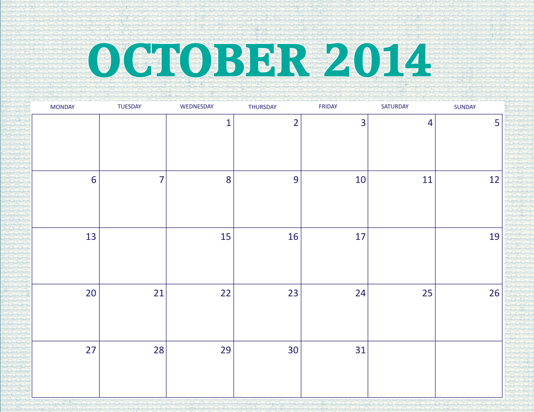 Free Printable 2014 Monthly Calendars October