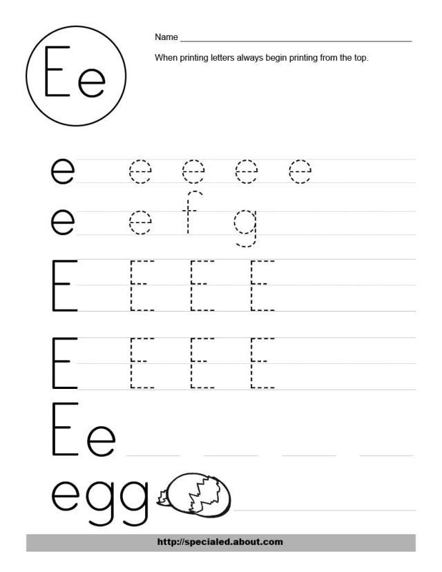 Free Printable Alphabet Letter E Worksheets