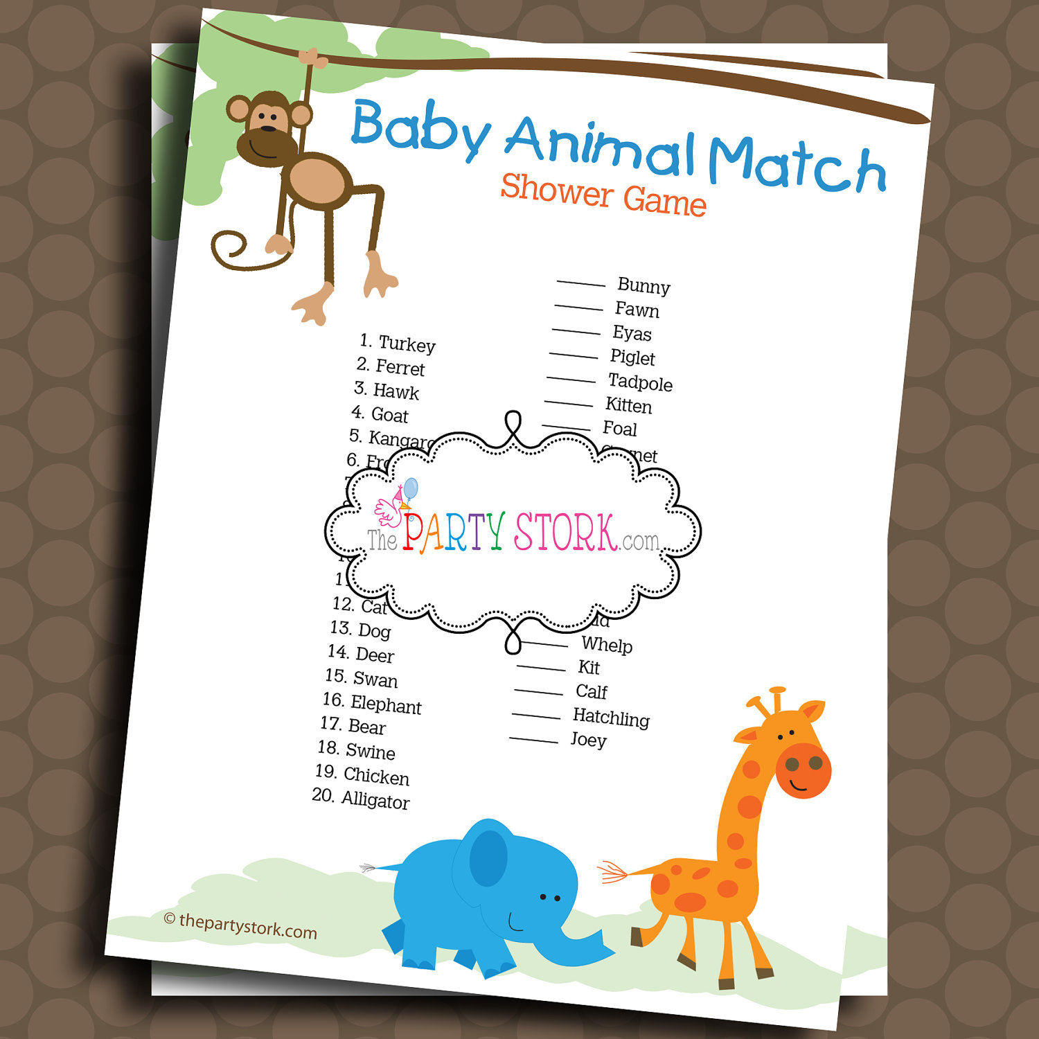 9 best images of animal baby shower games printables for Baby shower party junge