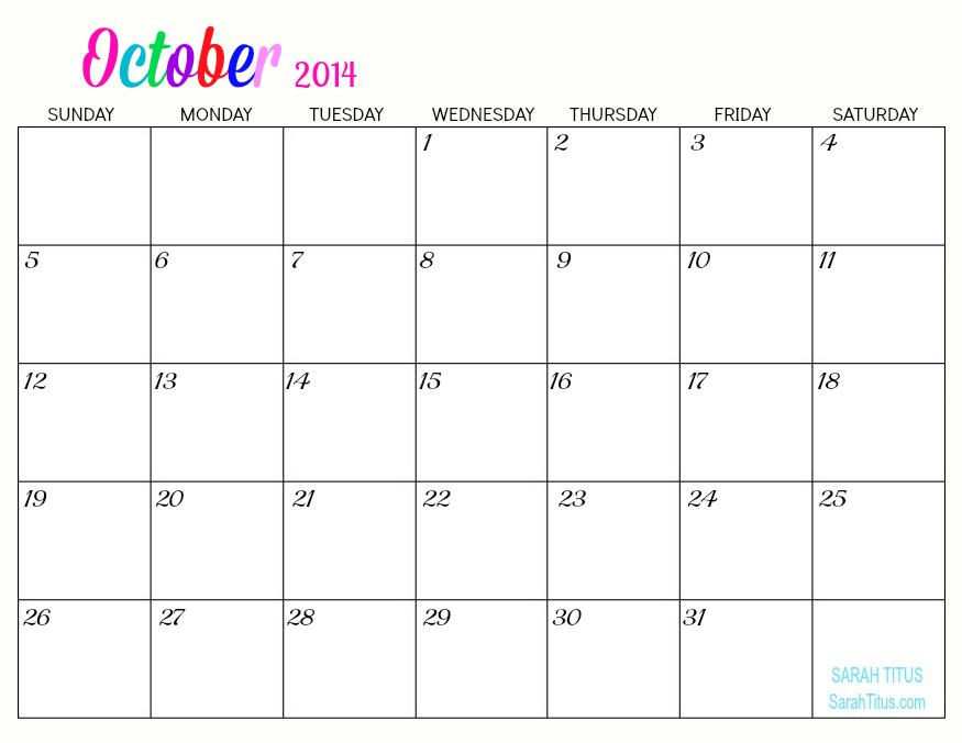Free Printable Blank Calendar July 2014