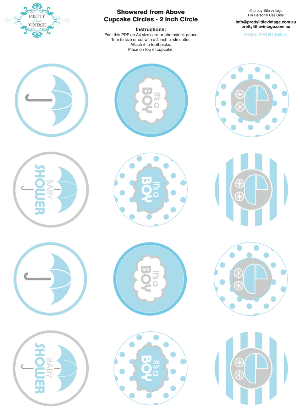 7 Images of Baby Boy Shower Cupcake Toppers Printable
