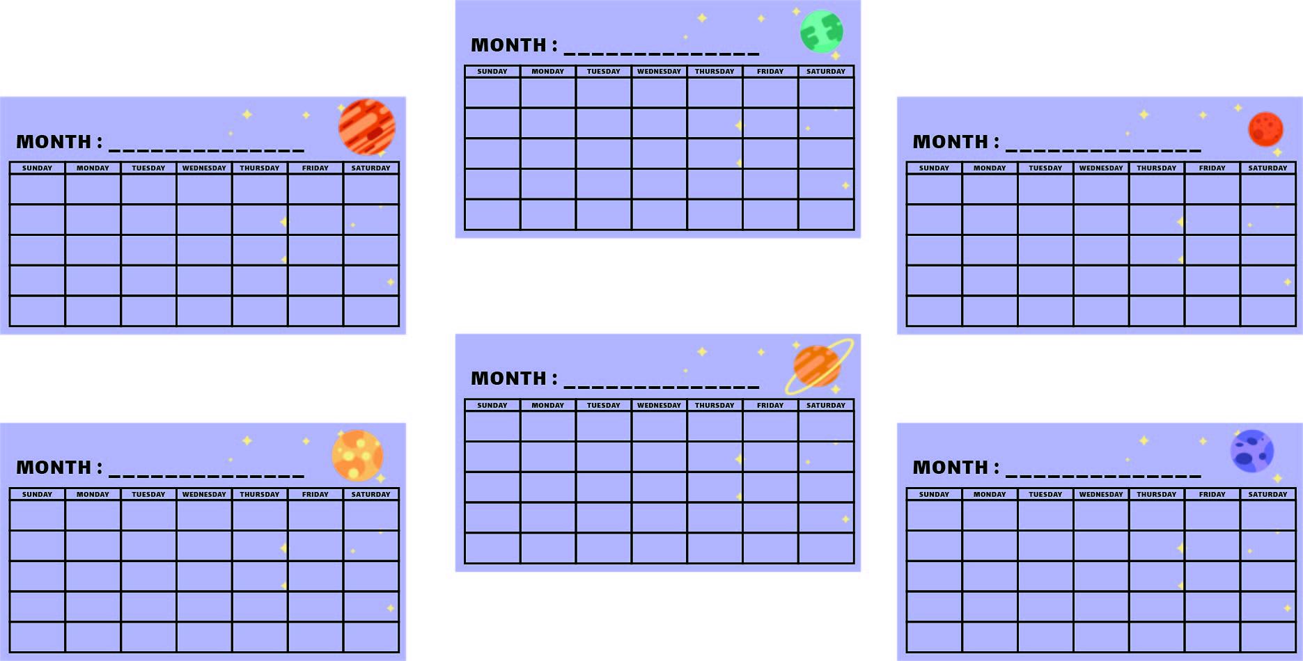 Printable Calendar Worksheets