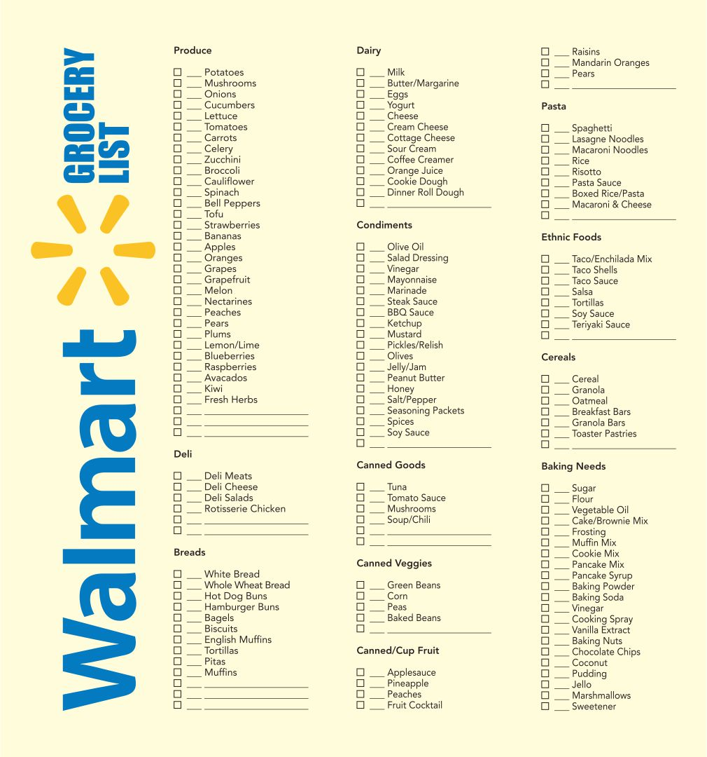 Printable Grocery List Walmart