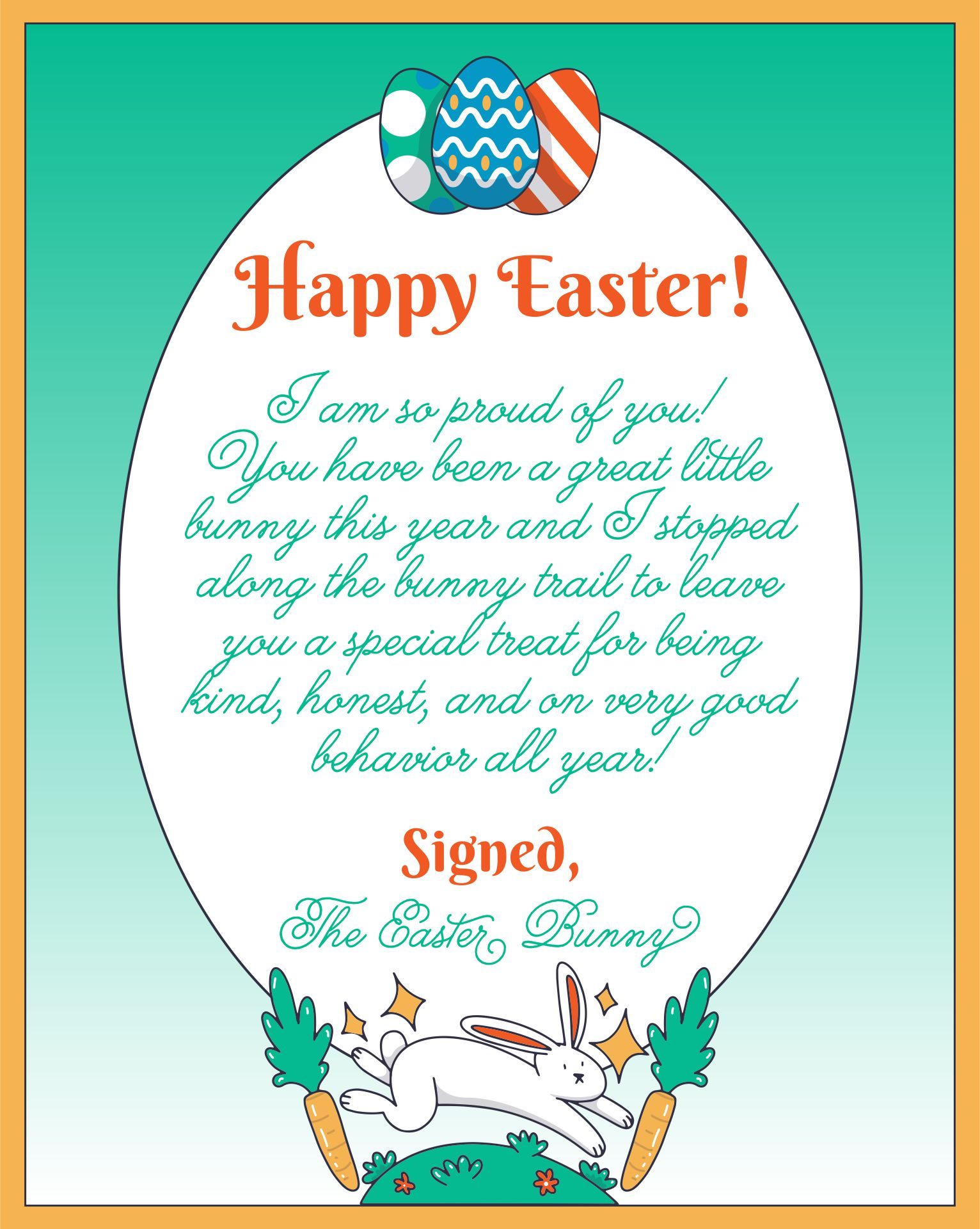 6 Images of Easter Bunny Free Printable Letters