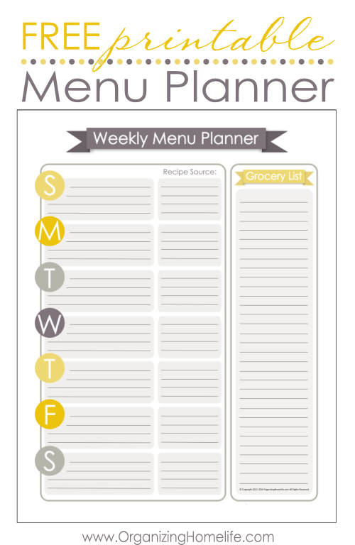 5 Images of Free Printable Menu Planner Template