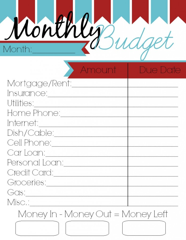 4 Images of Free Printable Blank Monthly Budget Worksheet