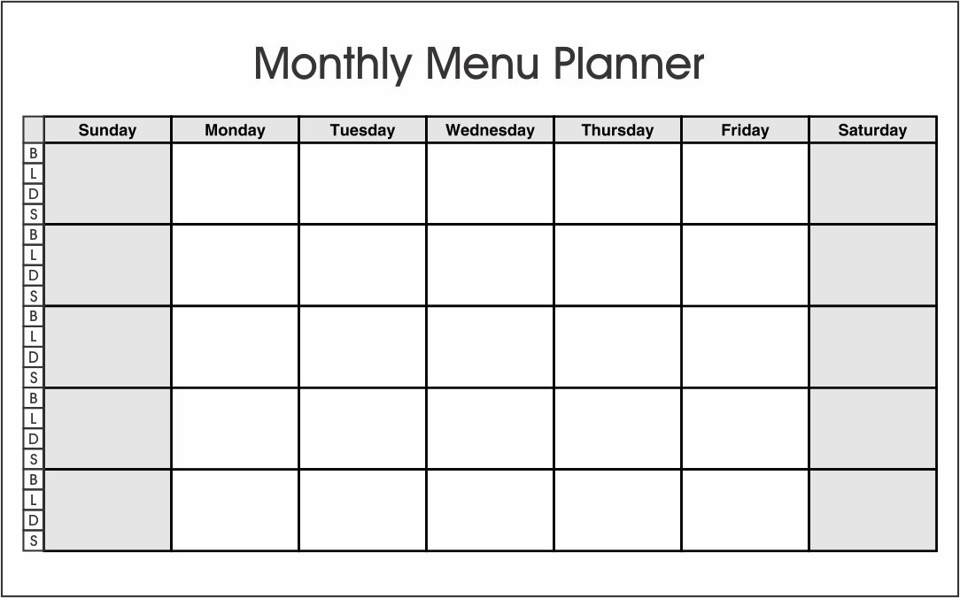 Printable Monthly Meal Planner Template