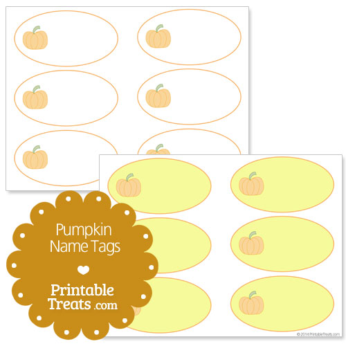 5 Images of Pumpkin Name Tags Printable