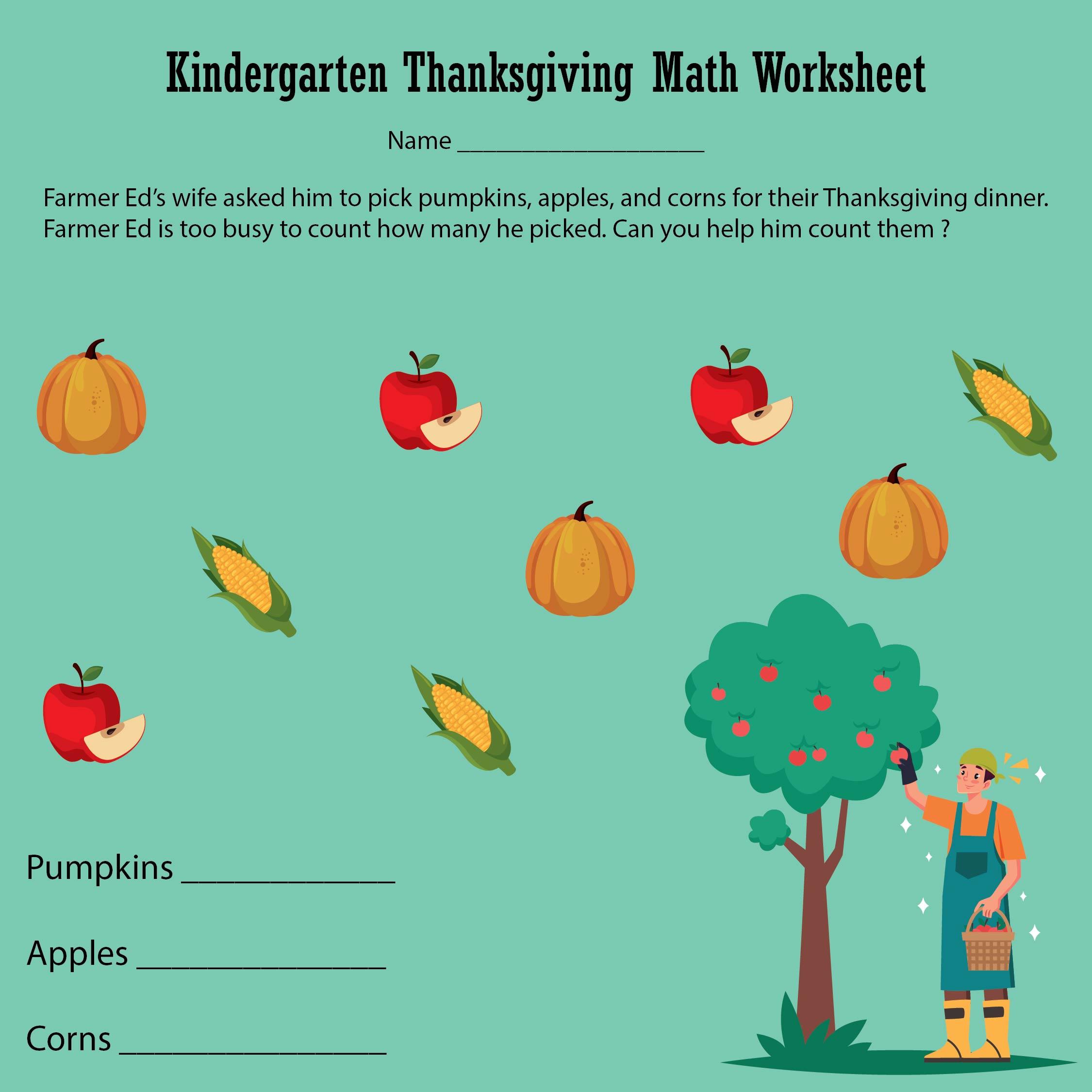 Thanksgiving Math Activity Worksheets - Educational Math Activities