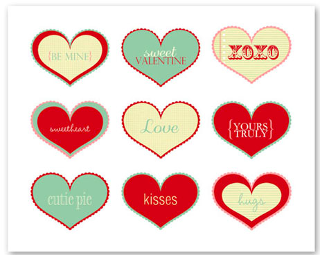 4 Images of Hearts Valentine Day Cards Printables