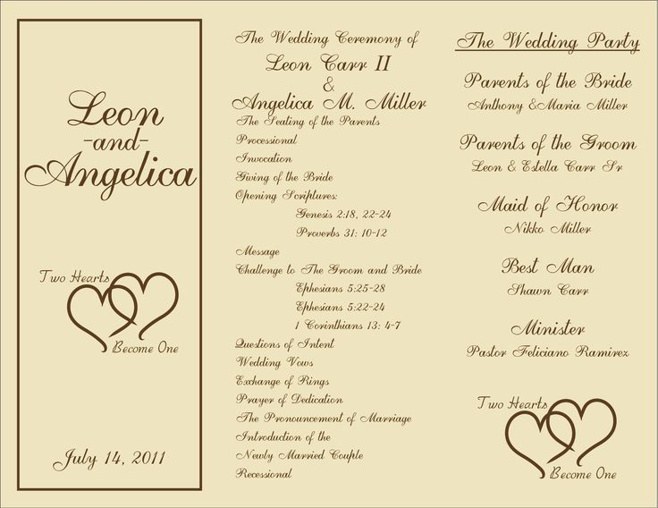 7 best images of rustic wedding ceremony program template for Free wedding program templates