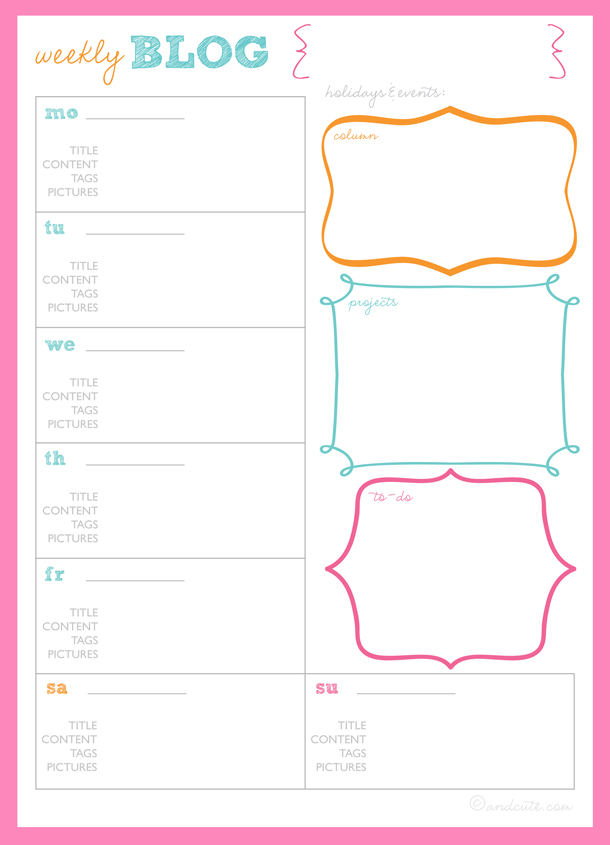 4 Images of Printable Planner Blog