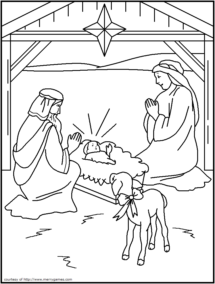 4 best images of religious christmas printables for for Free religious coloring pages