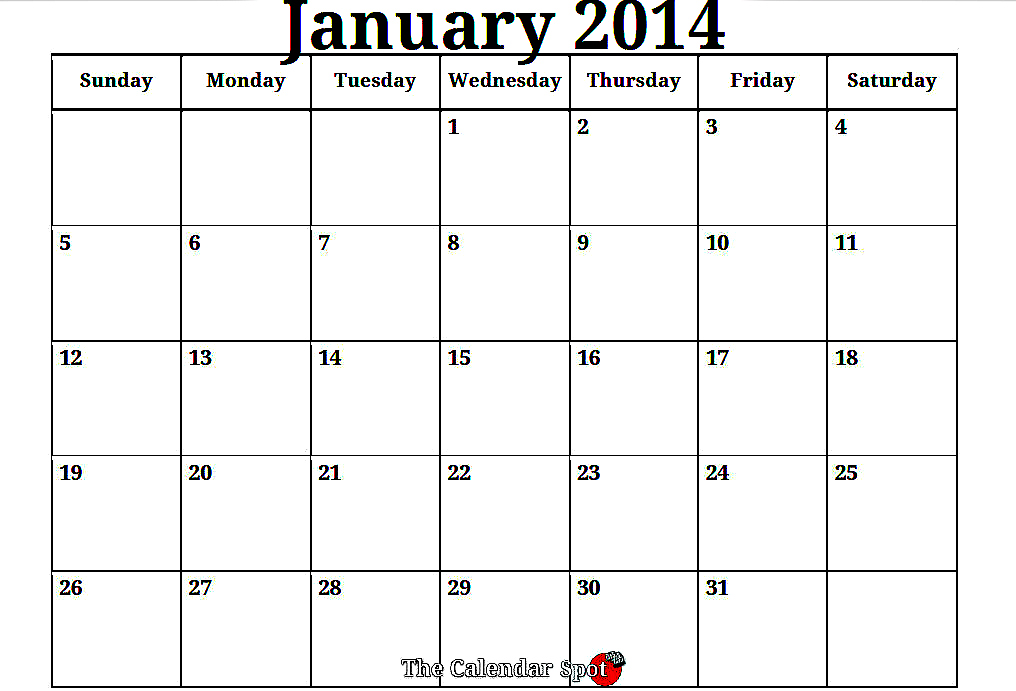 7 best images of free printable 2014 monthly calendars for Fillable calendar template 2014