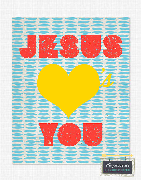 4 Images of Jesus Loves You Heart Printable