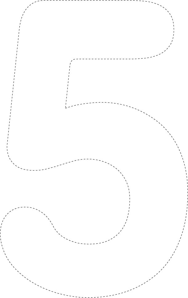 Large Printable Cut Out Number 5