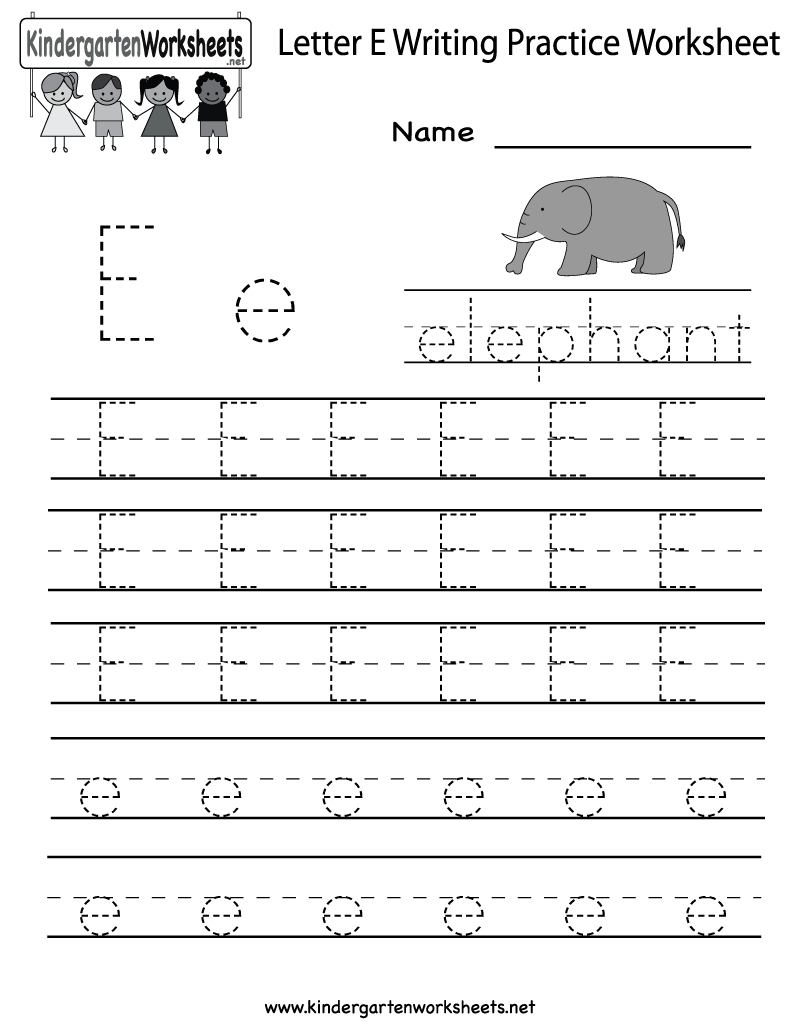 Letter E Writing Practice Worksheet