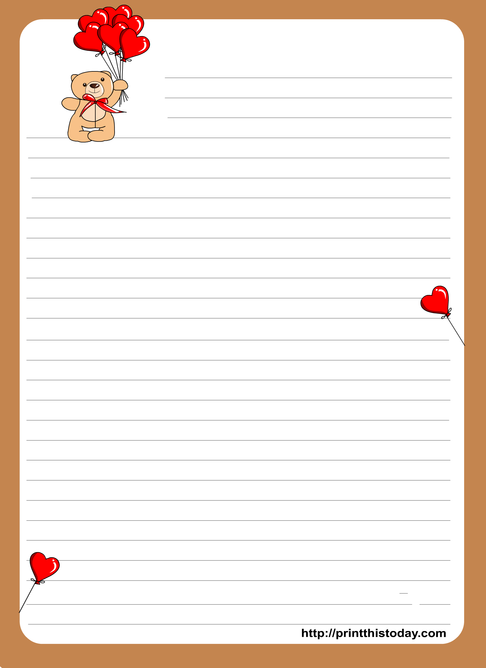 printable love writing paper If your kids need a little motivation to get writing, or perhaps they love writing and can't get enough of it, try these free printables post office play – free printable play set draw your own postcard (free printable).