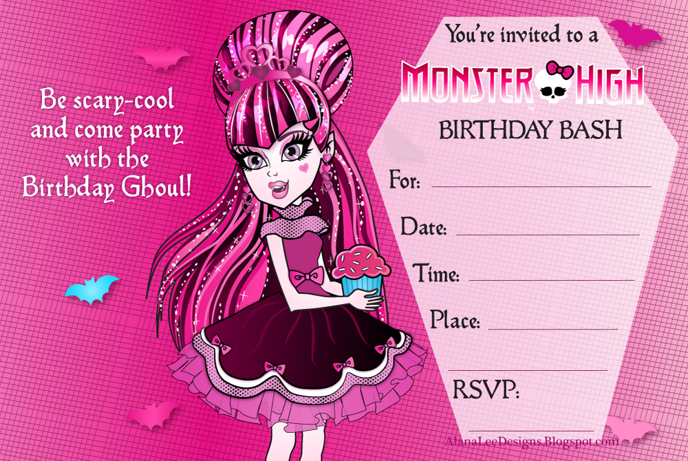 6 Images of Monster High Printable Invitations