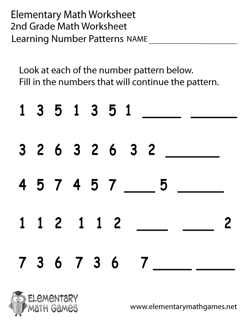 5 Best Images of Second Grade Pattern Worksheets Printable – Pattern Maths Worksheets