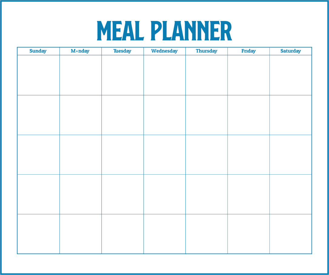 Numbers of Blank Meal Planning Template