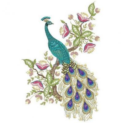 7 Images of Free Printable Embroidery Patterns Peacocks