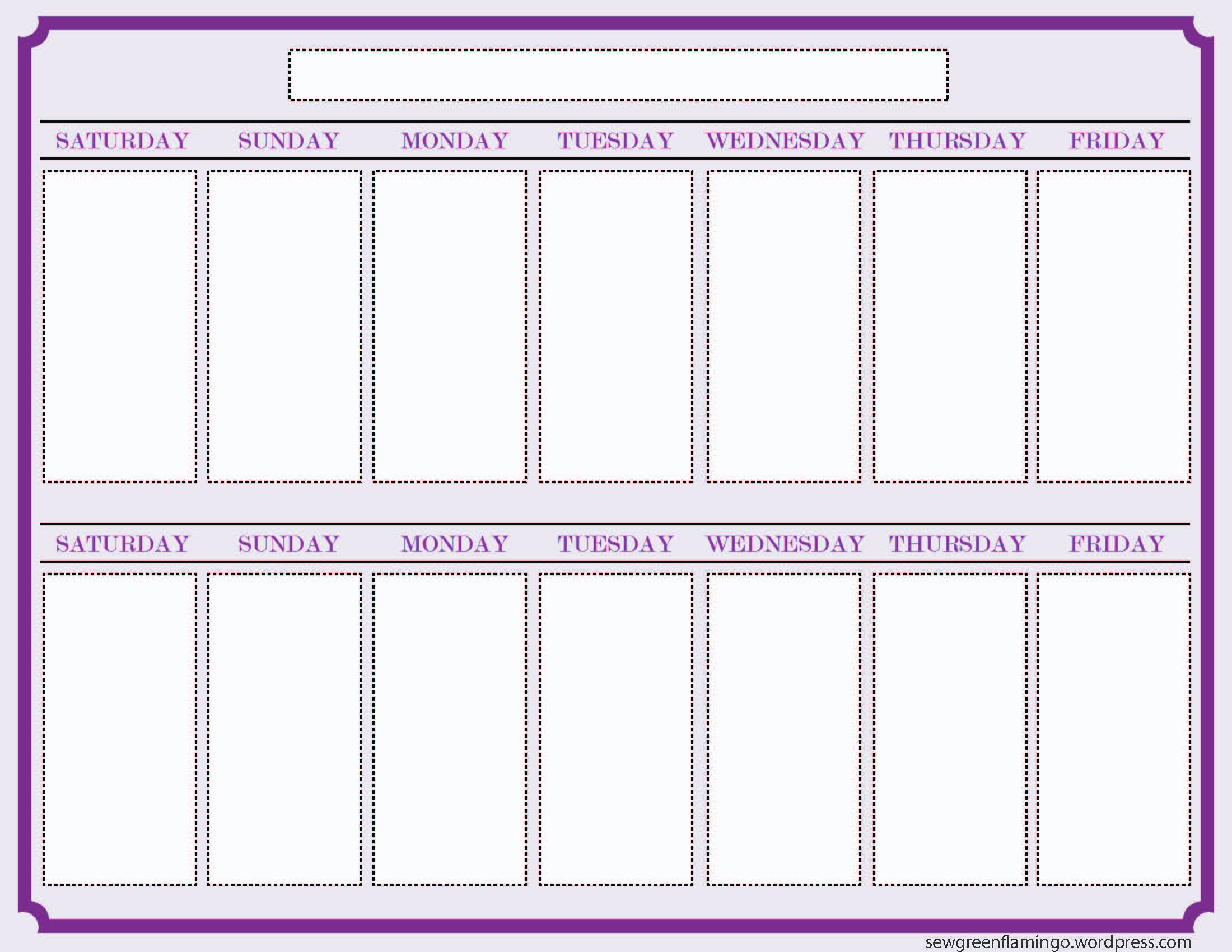 6 Images of Printable 2 Week Blank Calendar Template