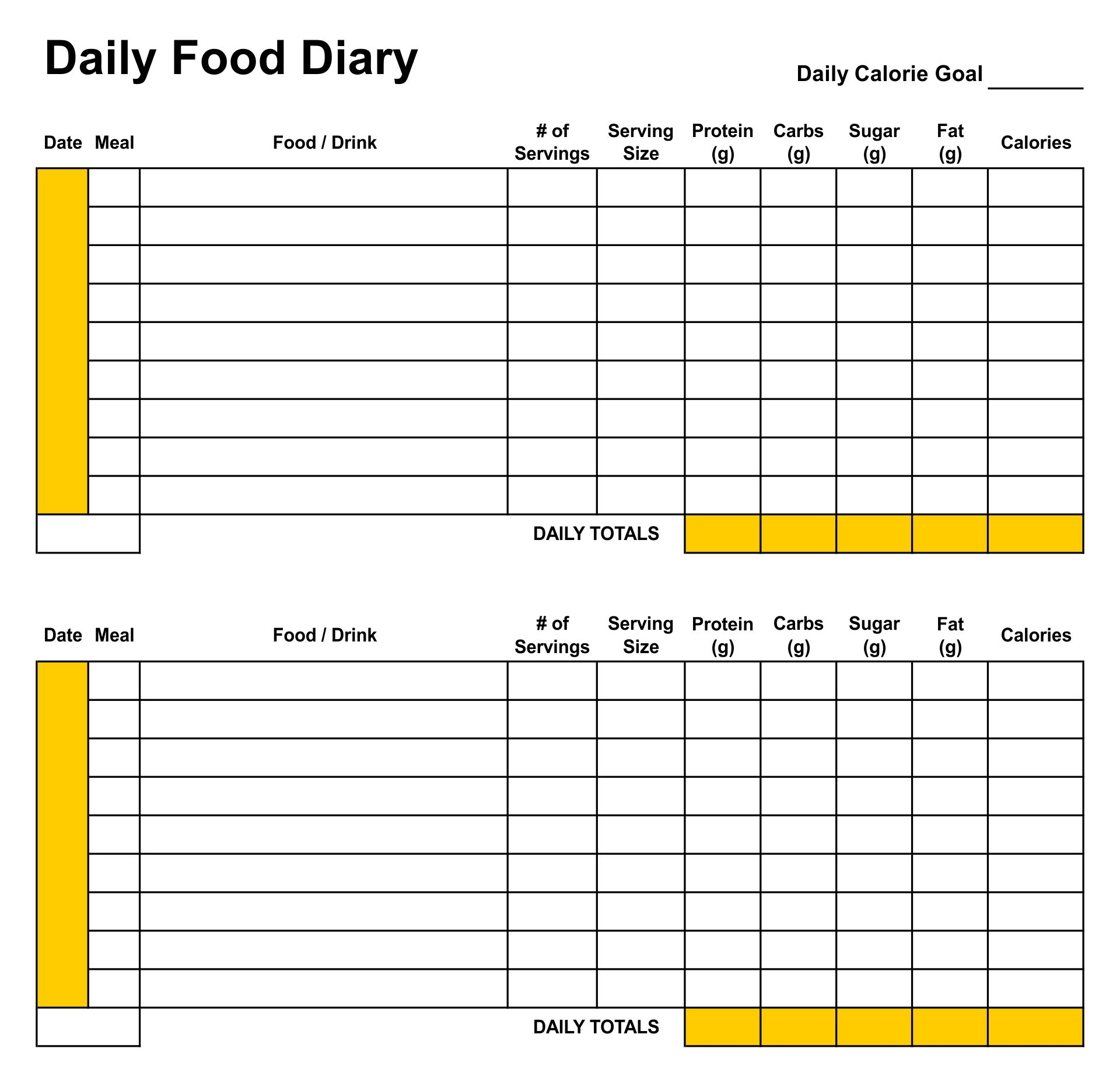 7 Images of Daily Diet Journal Printable