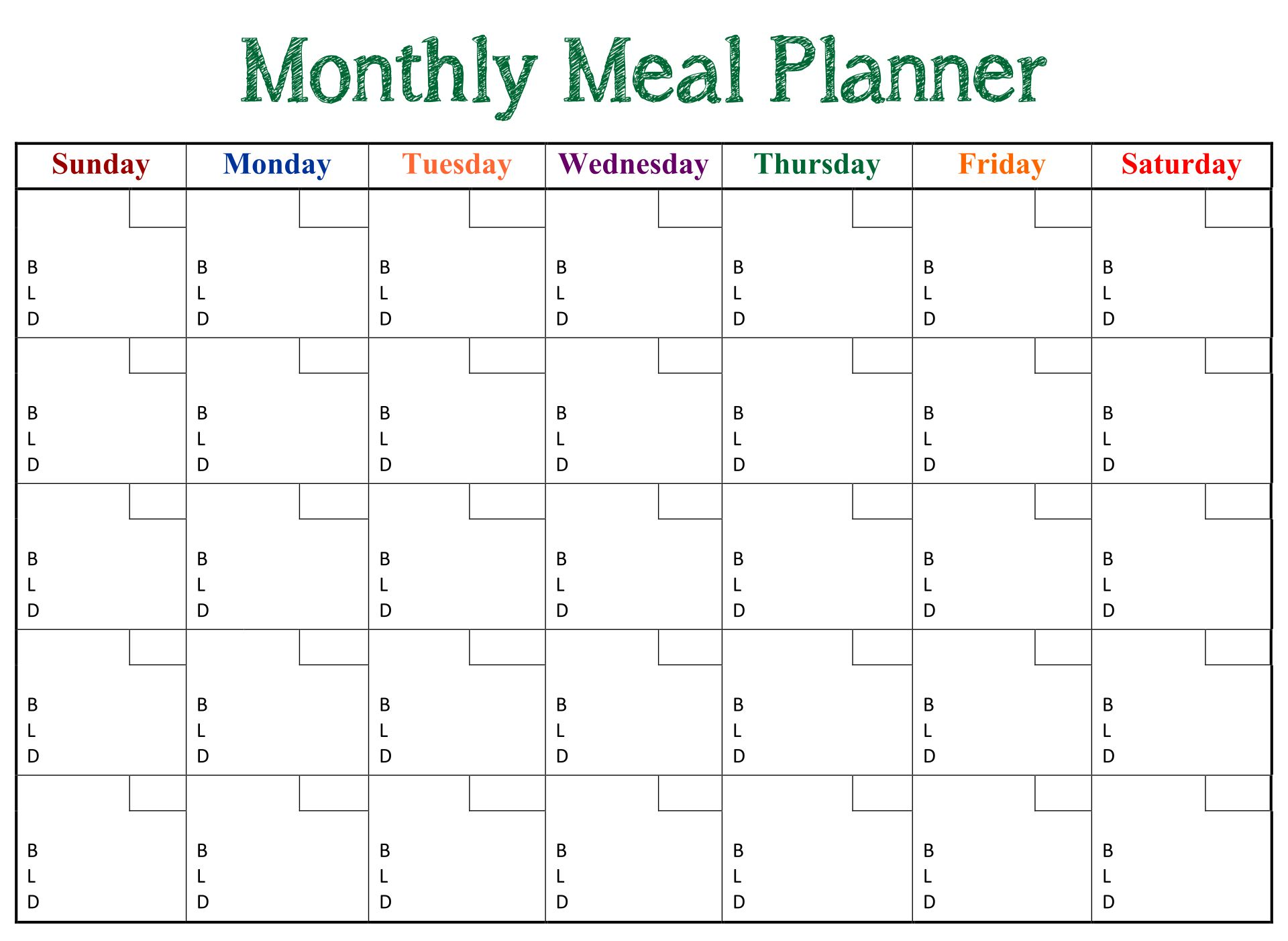 Printable Monthly Dinner Planner