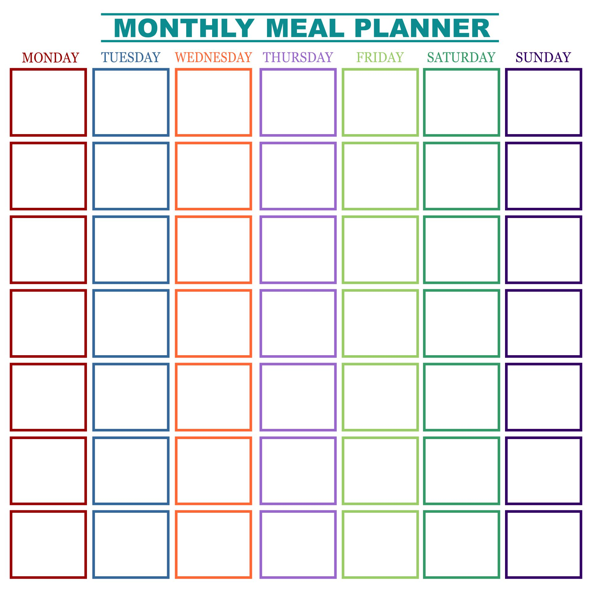 Printable Monthly Menu Planner