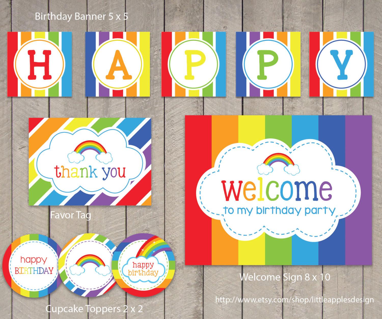 Printable Rainbow Birthday Party