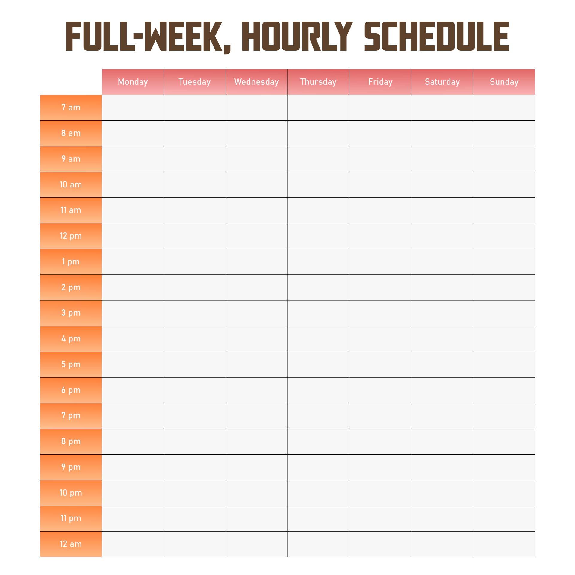 Printable Weekly Hourly Schedule Template