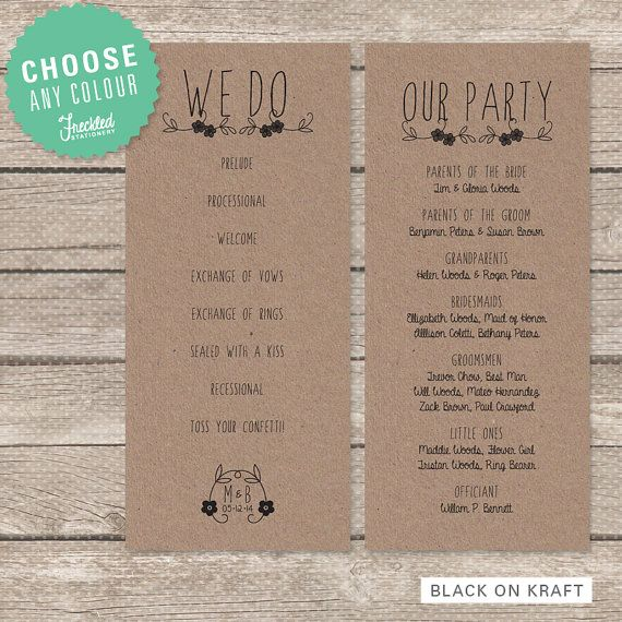 7 best images of rustic wedding ceremony program template