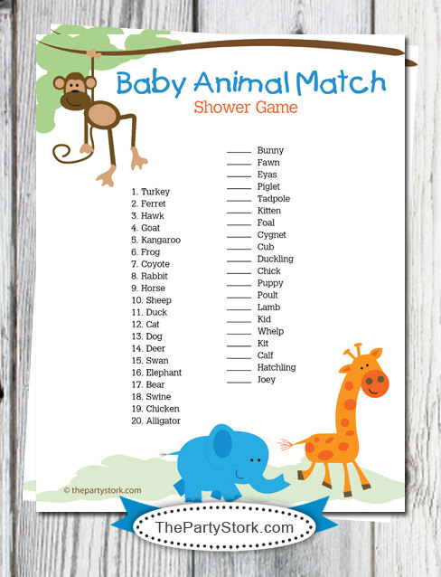 9 Images of Animal Baby Shower Games Printables