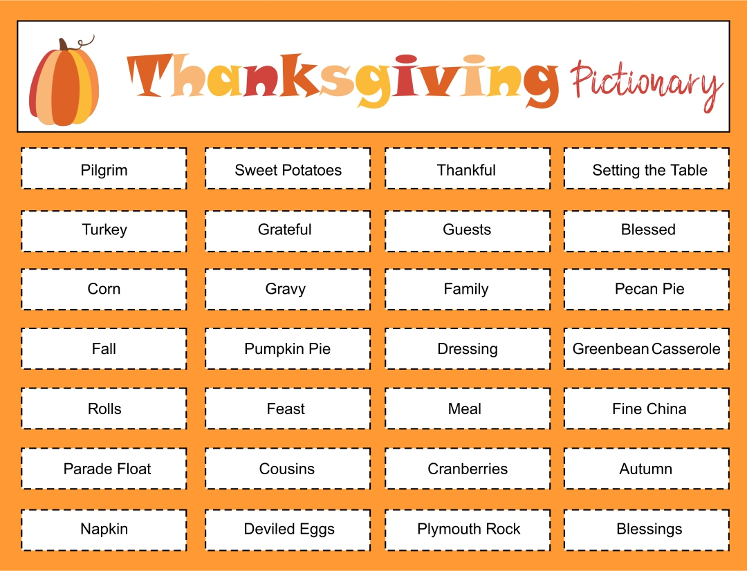 Thanksgiving Pictionary Word List