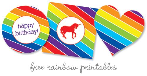 Unicorn Rainbow Party Printables Free