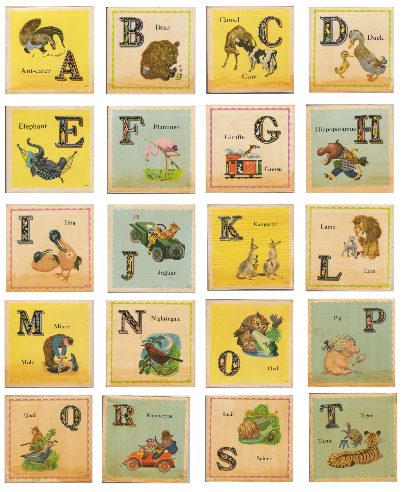8 Images of Vintage ABC Cards Printable
