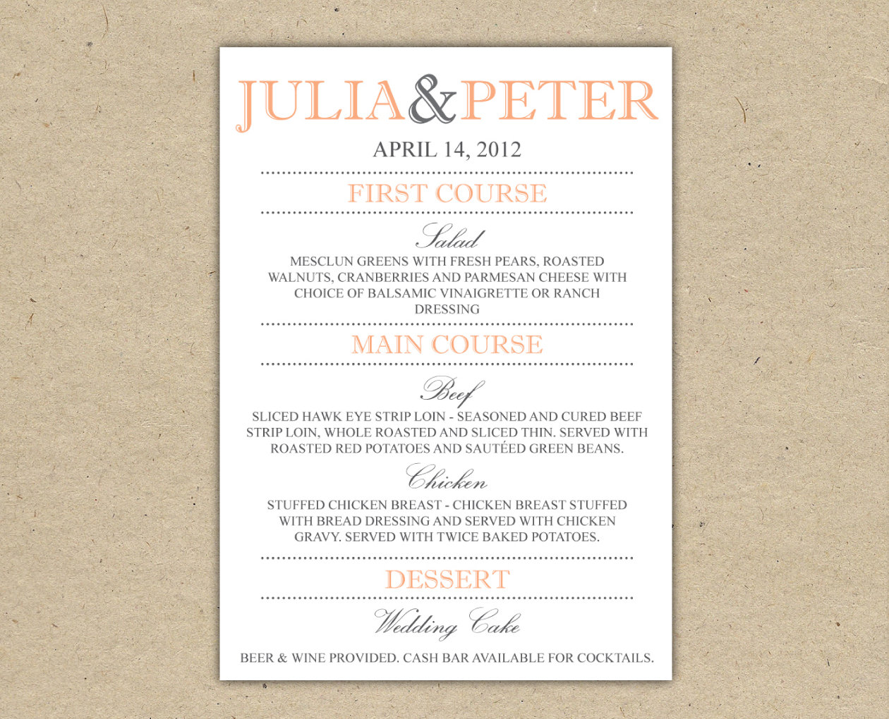 4 best images of wedding dinner menus printable wedding