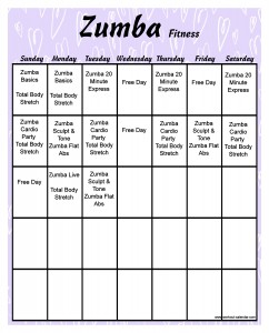 8 Images of Zumba Workout Calendar Printable