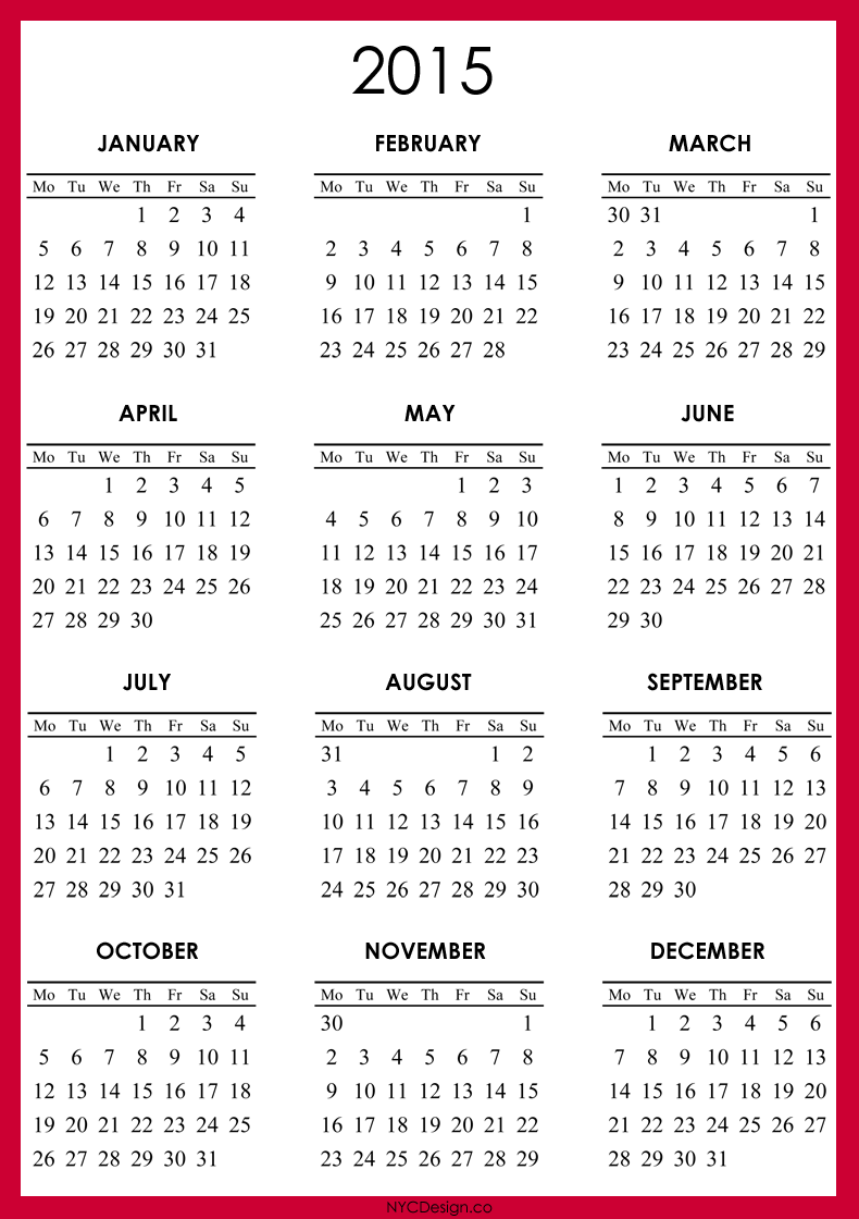 6 Images of Free Printable Com Yearly Calendars 2015