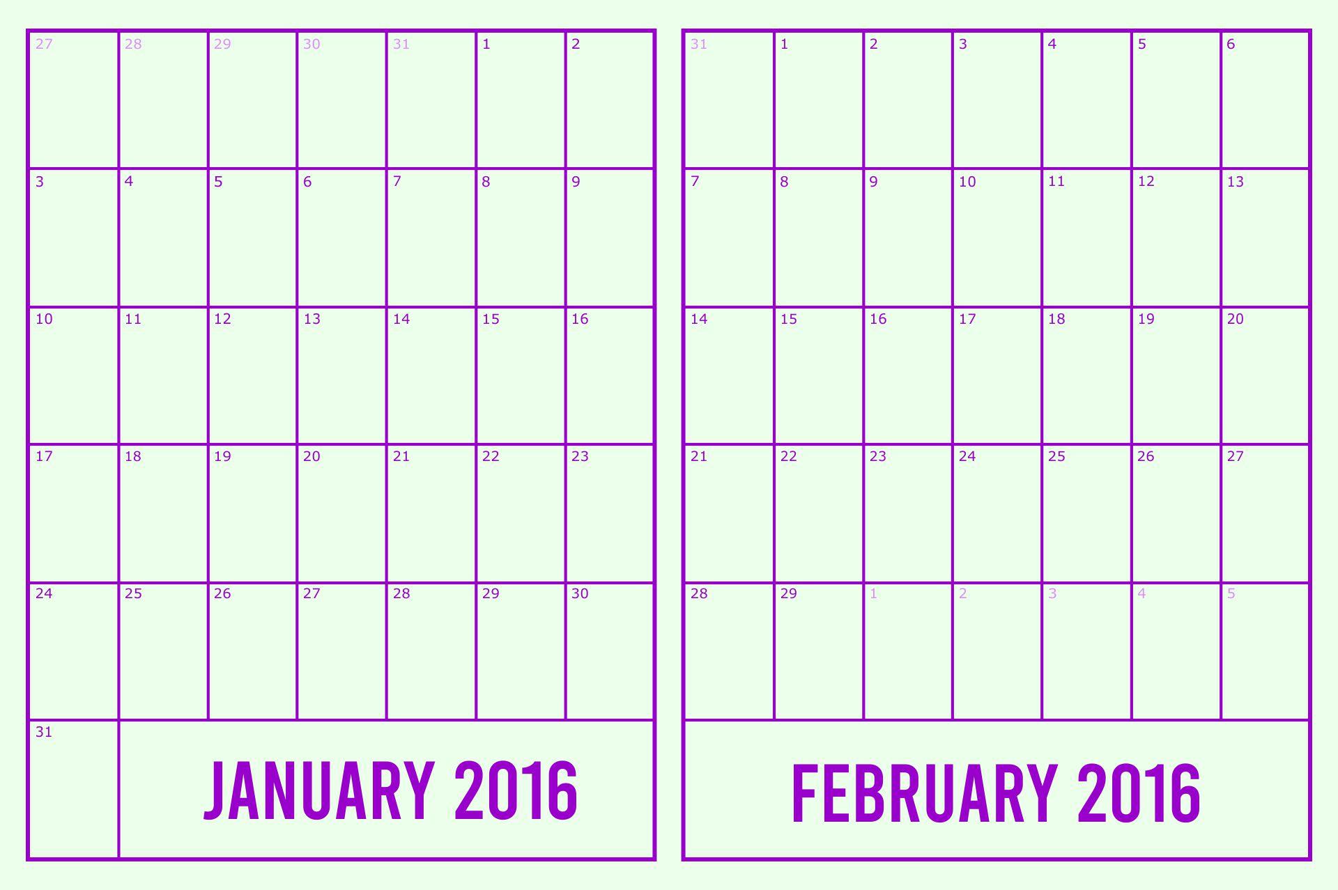 2016 Printable 2 Page Planner Calendar